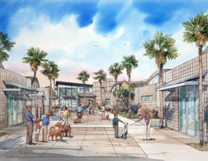 Watercolor architectural rendering of animal shelter campus