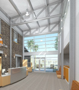 Interior architectural rendering of lobby in animal shelter administration building