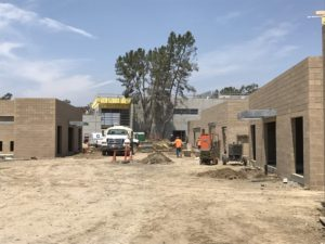 Ground level view of Animal Shelter Construction showing architectural design